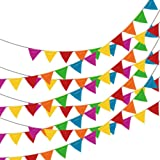 Linxii 150 Pcs Multi-color Fabric Bunting Banner Reusable Pennant Flags for Party Accessories Decorations (263 Feet)