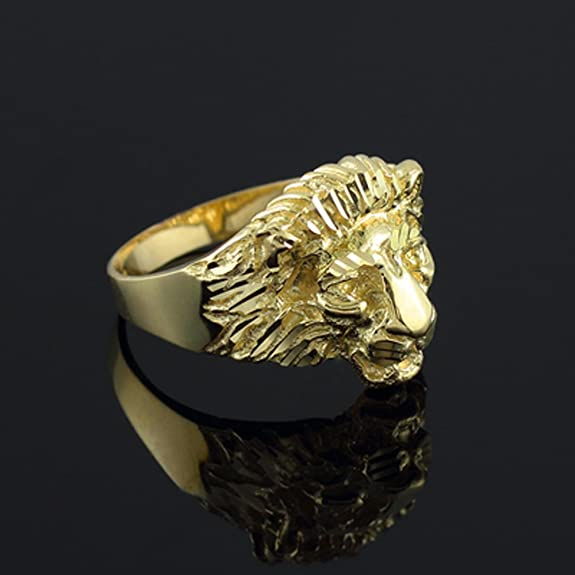 14k Gold Lion Head Men s Ring Amazon