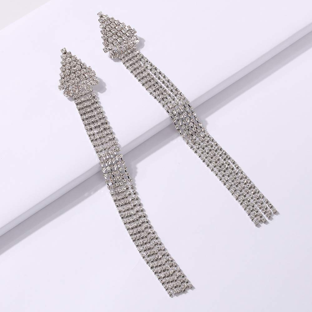 YAZILIND Luxury Bright Crystal Drop Long Tassel Dangle Multi Chain Rhinestone Earrings For Brides Wedding Accessories Birthday Gift
