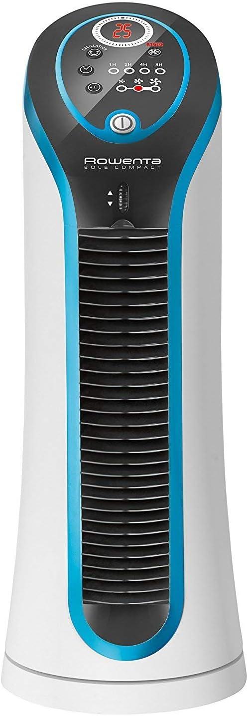 Rowenta VU6210F0 Ventilador de mesa, tecnología de flujo de aire 3D, 3 velocidades, silencioso, 30 W, Negro, Azul