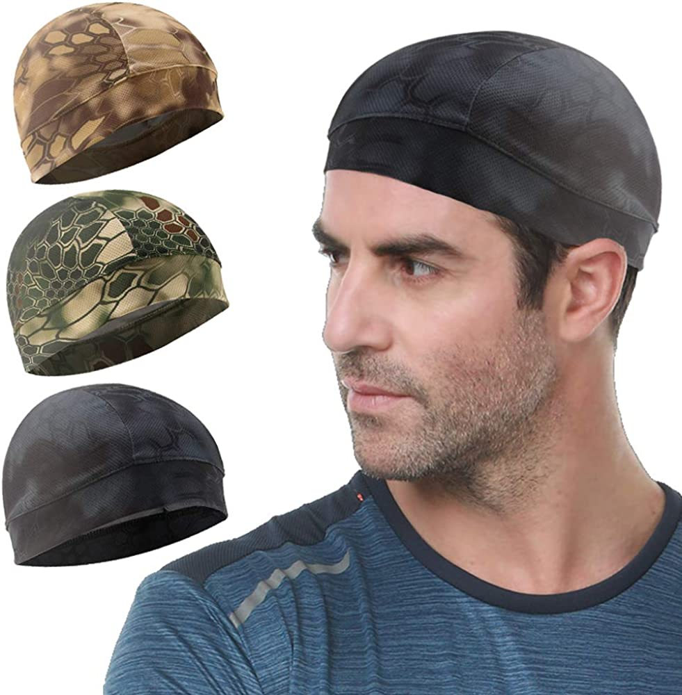 Go-sport 3 Pack Cooling Skull Cap Helmet Liner Sweat Wicking Cycling Running Hat for Men Women