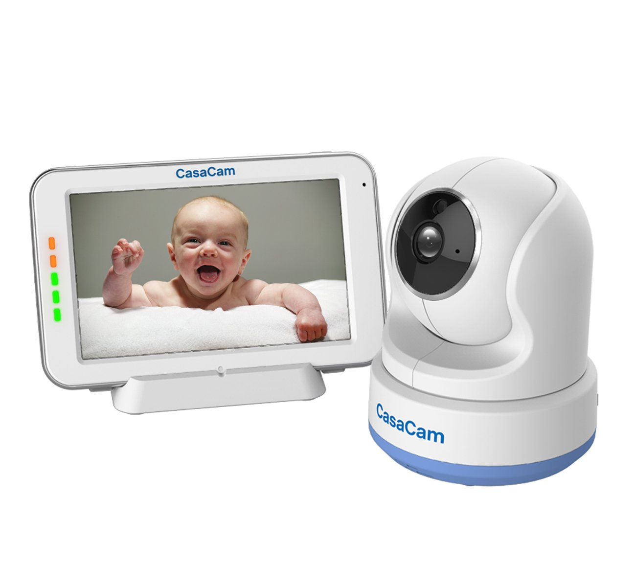 "CasaCam BM200 Video Baby Monitor with 5"" Touchscreen and HD Pan & Tilt Camera, Two Way Audio, Lullabies, Nightlight, Automatic Night Vision and Temperature Monitoring Capability"