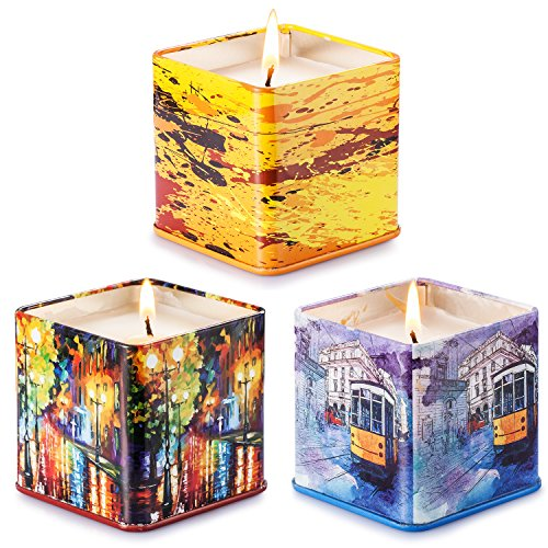 Soyyla Scented Candles 3 Pack Gift Set: Lavender,Peach and Grapefruit, 3 x 4 Ounce Eco-friendly Natural Soy Wax - Portable Travel Tins Candle for Hotel - Gift for Her