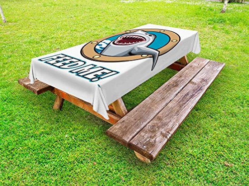 Ambesonne Shark Outdoor Tablecloth, Funny Vintage Feed Me Quote with Hungry Hound Shark Head in Ship Window Humor Print, Decorative Washable Picnic Table Cloth, 58 X 84 Inches, Multicolor