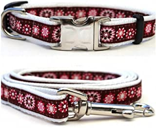 "product image for Diva-Dog 'Garden Party' Custom Small Dog 5/8"" Wide Dog Collar with Plain or Engraved Buckle, Matching Leash Available - Teacup, XS/S"