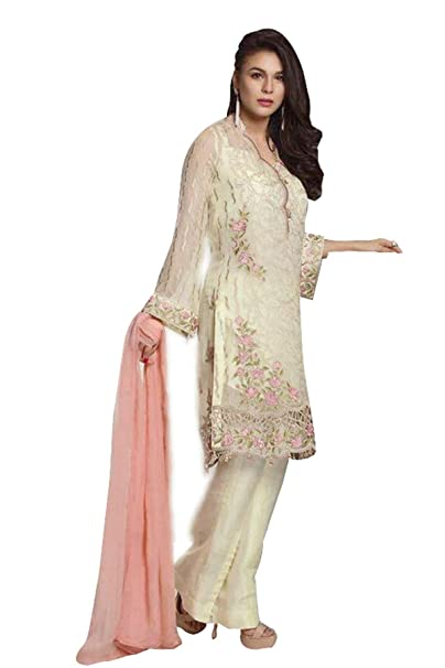 52a899a0e Lebaas Cream Pakistani Style Heavy Embroidered Women s Georgette ...