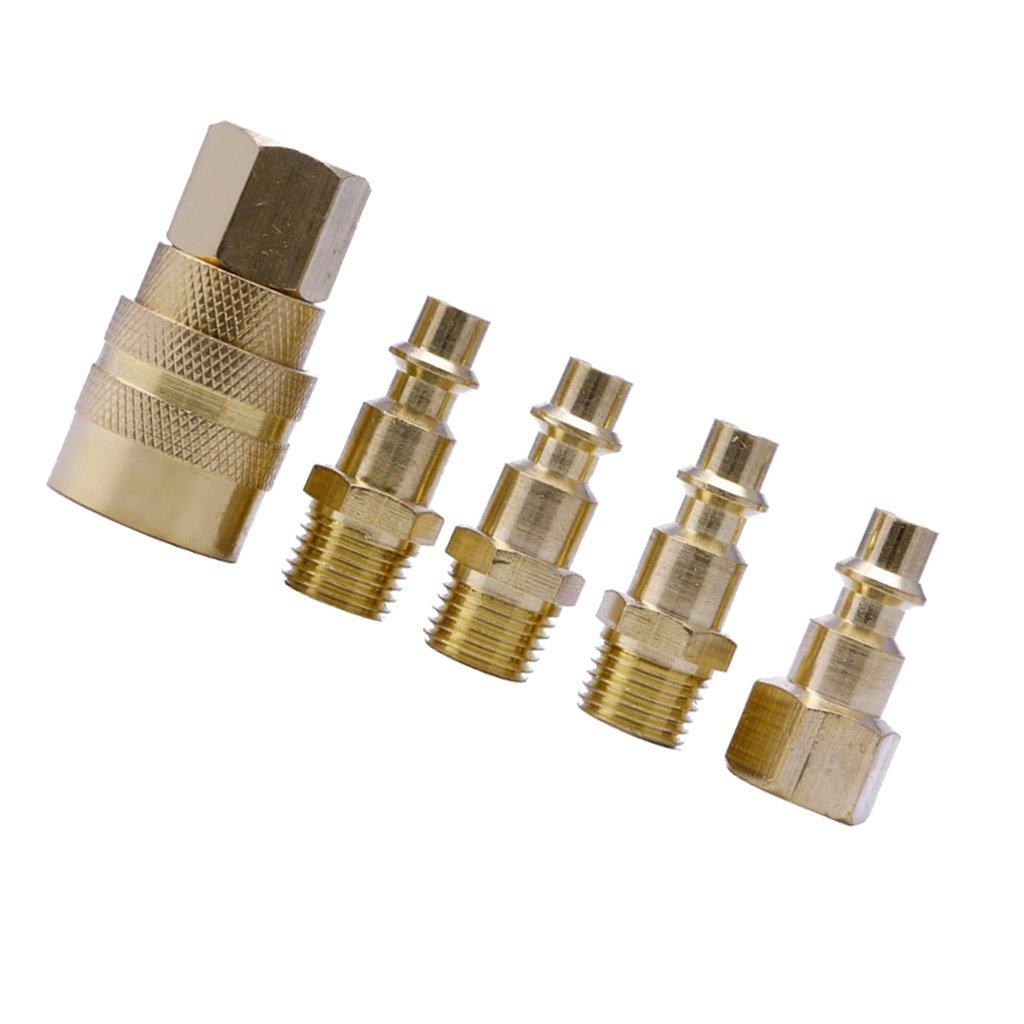 Homyl Conector De Lató n Só lido De 5 Piezas Conjunto Conector De Manguera De Aire Que Conecta 1/4 Npt Herramientas Enchufe