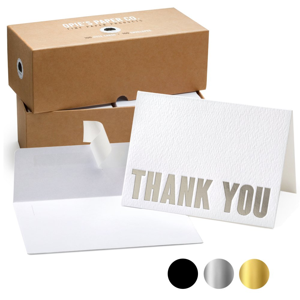 100 Letterpress Thank You Cards and Self Seal Envelopes - Opie's Paper Company (Silver)