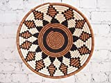 16'' X-Large African Basket- Bungoma / Rwanda Basket / Woven Bowl / Sisal & Sweetgrass Basket / Brown, Black, White