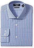 Original Penguin Men's Slim Fit Glen Check Plaid Dress Shirt, Blue/White Glen Plaid, 17.5 34/35