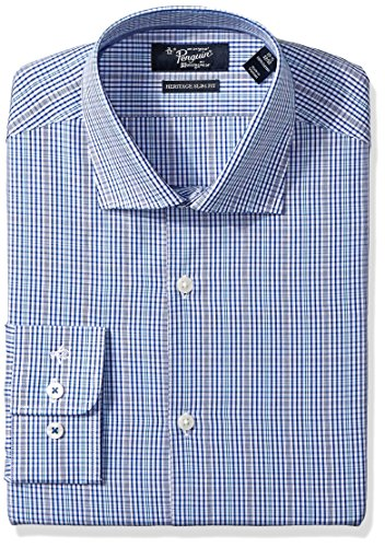 Original Penguin Men's Slim Fit Check Dress Shirt, Blue/White Glen