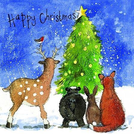 Alex Clark tarjetas navideñas – árbol de Navidad y criaturas del bosque. – Pack de 5: Amazon.es: Hogar