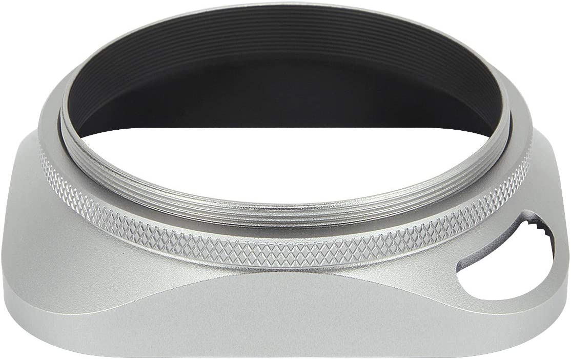 Haoge LH-W58P 58mm Square Metal Screw-in Lens Hood Hollow Out Designed with Cap for Leica Rangefinder Camera with 58mm E58 Filter Thread Lens Silver