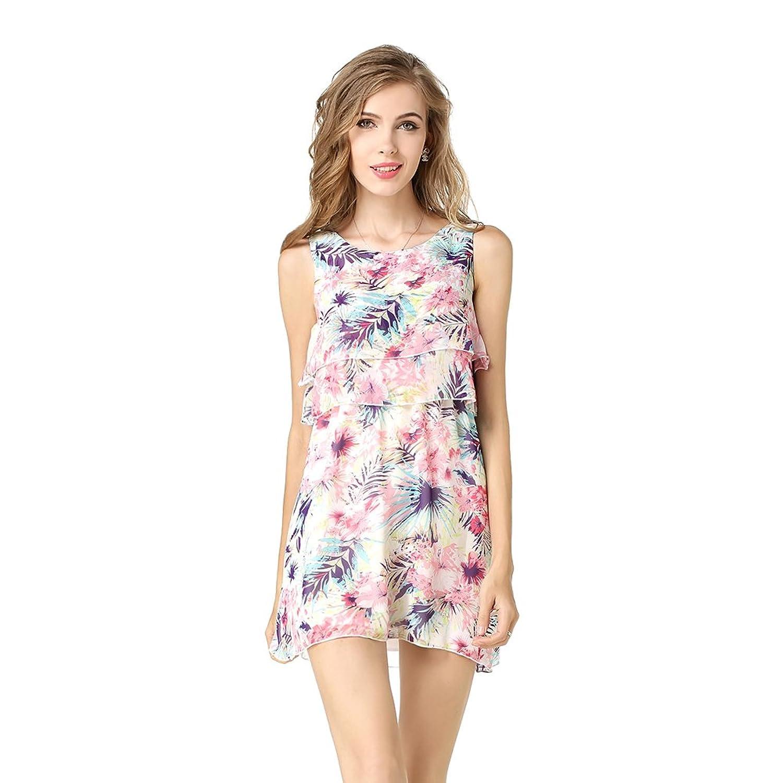 HQS Mode-Frauen-beiläufige Chiffon- Kleid Drucken Blumen Ärmellos Minirock
