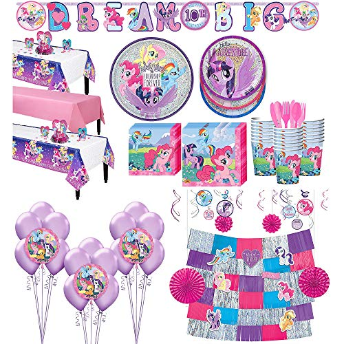 Party City My Little Pony Tableware Ultimate Kit and Supplies for 24 Guests, Includes Table Covers, Balloons and -