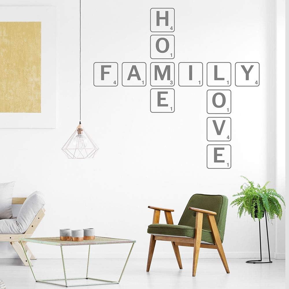 Scrabble style family home love etiqueta de la pared individual sala de estar decoración calcomanía palabra adhesivo vinilo calcomanía mural decoración del hogar: Amazon.es: Bebé