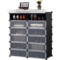 BRIAN & DANY 6 Tire DIY Shoe Wardrobe Rack, 12 Cube Compartment Shoe Cabinet Rack DIY Storage Stackable Organiser Portable