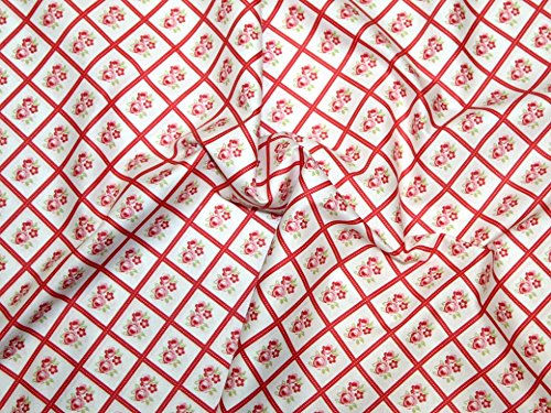 Free Spirit Tanya Whelan Lulu Roses Libby Poplin Quilting Fabric Red - per fat quarter