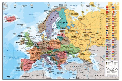 - Europe Map With Flags Wall Chart Poster Gloss Laminated - 91.5 x 61cms (36 x 24 Inches)