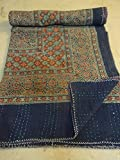 Tribal Asian Textiles Block Print Hand Work Kantha Quilt , Kantha Blanket Bedspread, Patch Kantha Throw, Queen Kantha, Kantha Rallies With Embroidery Mirror work