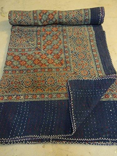 Tribal Asian Textiles Block Print Hand Work Kantha Quilt , Kantha Blanket Bedspread, Patch Kantha Throw, Queen Kantha, Kantha Rallies With Embroidery Mirror work by Tribal Asian Textiles