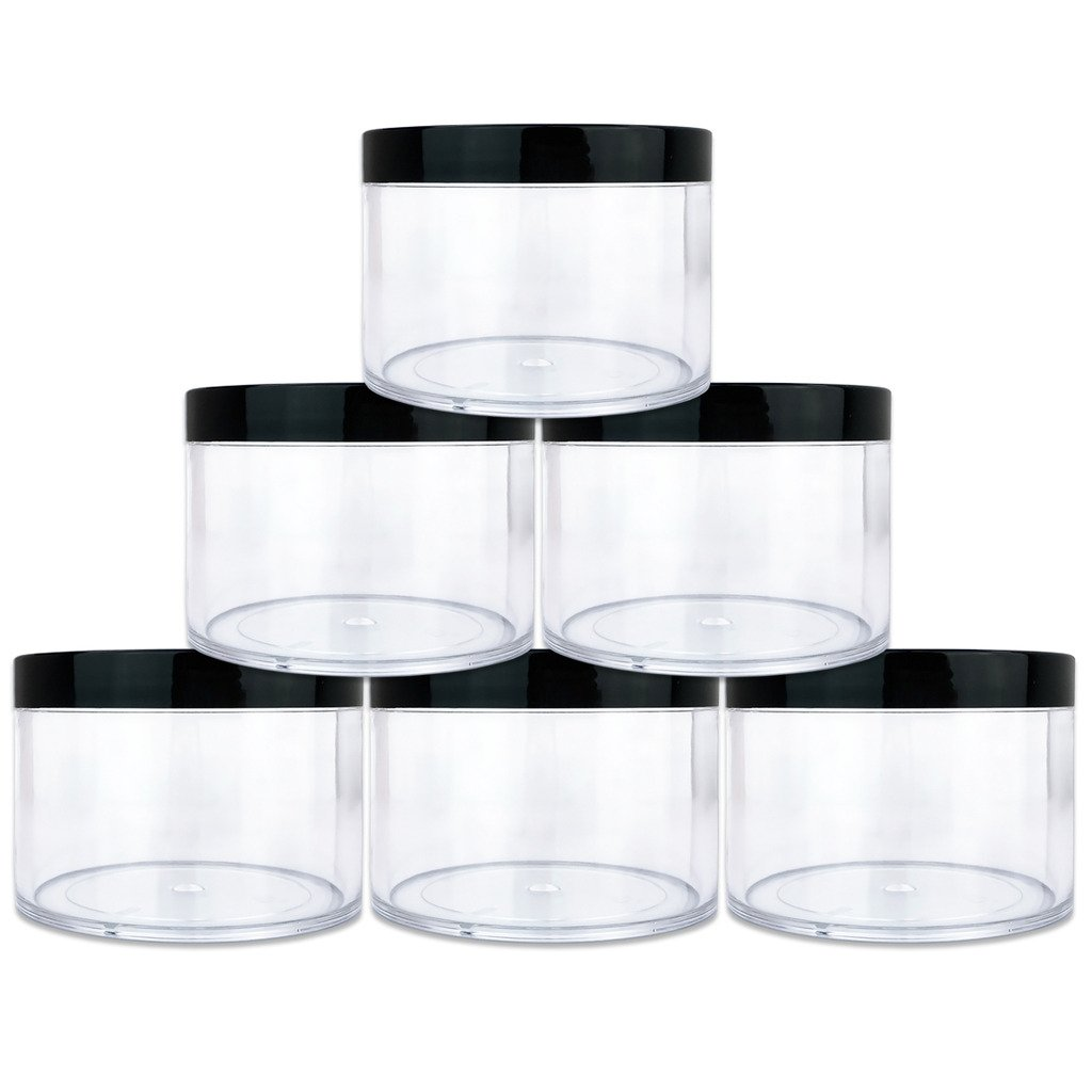 Beauticom 4 oz. 120g 120ML Quantity 6 Packs Thick Wall Round Leak Proof Clear Acrylic Jars with Black Lids for Beauty, Cream, Cosmetics, Salves, Scrubs