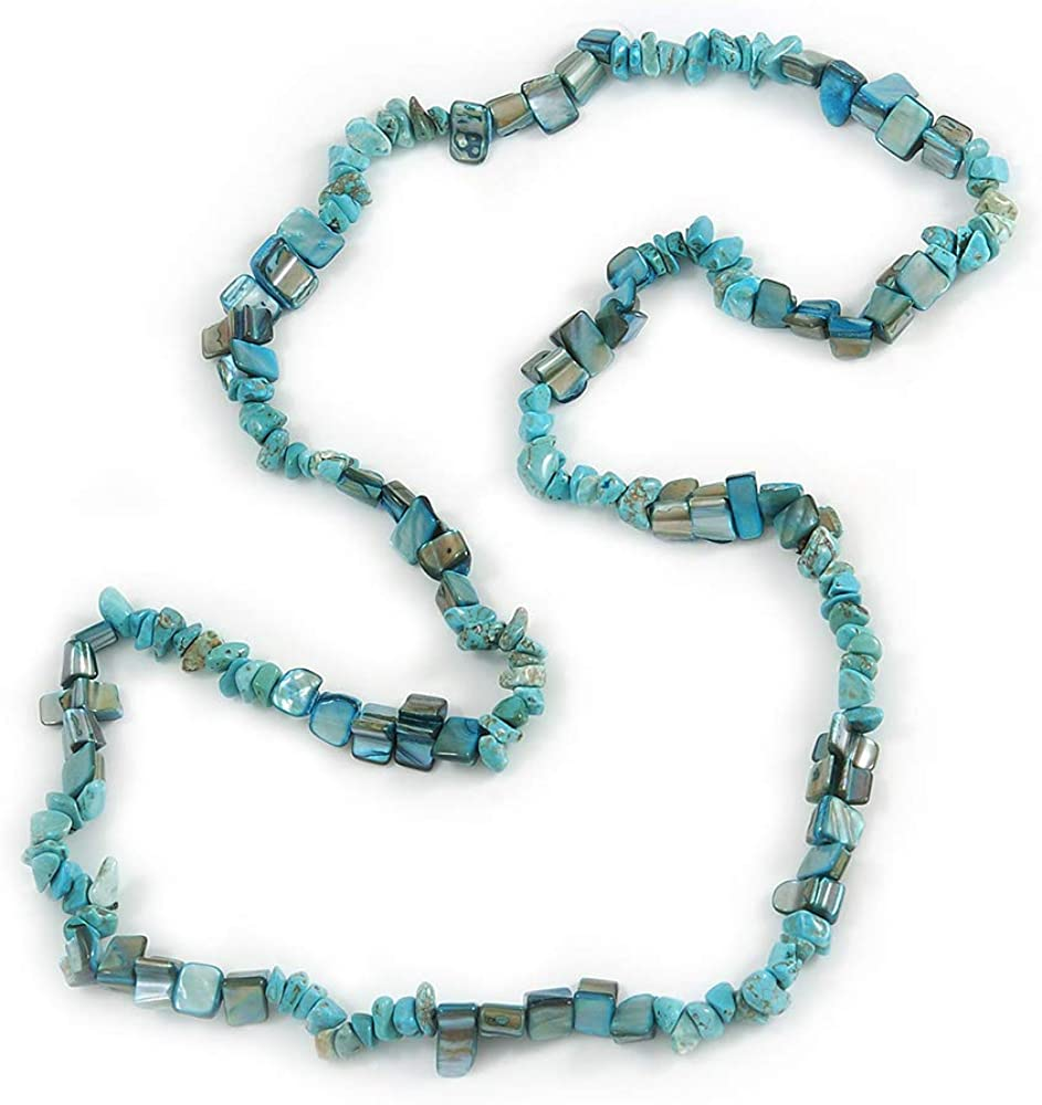 Elegante collar de piedra semipreciosa turquesa, verde azulado con concha de mar - 88 cm de largo