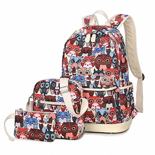 586ff468f0 3pcs Set Backpack Women Cute Animal Owl Printing Canvas Bookbags School Backpacks  Bags for Teenage