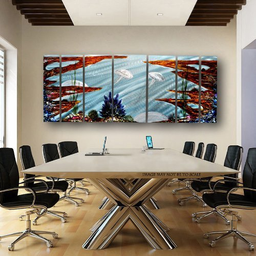 Statements2000 Abstract Colorful Ocean Sea Life Metal Wall Painting – Modern Seascape Home Decor Wall Art Panels…