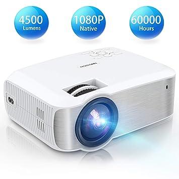 TOPVISION Proyector Cine en Casa,1080P Nativa Mini Proyector Portatil, Proyector LED de 4500 Lúmenes con Pantalla Máx de 240