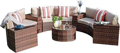 SUNSITT Outdoor Sectional Set 11-Piece Half Moon Patio Furniture Brown Wicker Sofa Beige Cushions