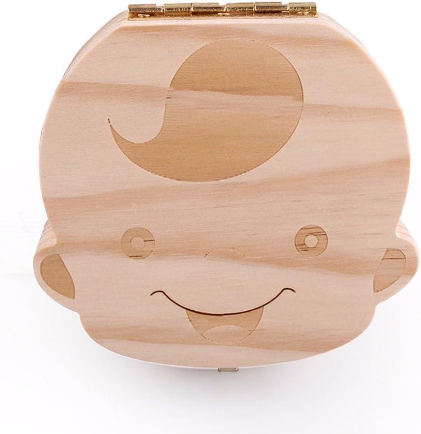 Caja de Dientes, Caja para guardar dientes para niños y niñas, Regalo para niños en madera de souvenir, Acumulación de dientes (Niño)