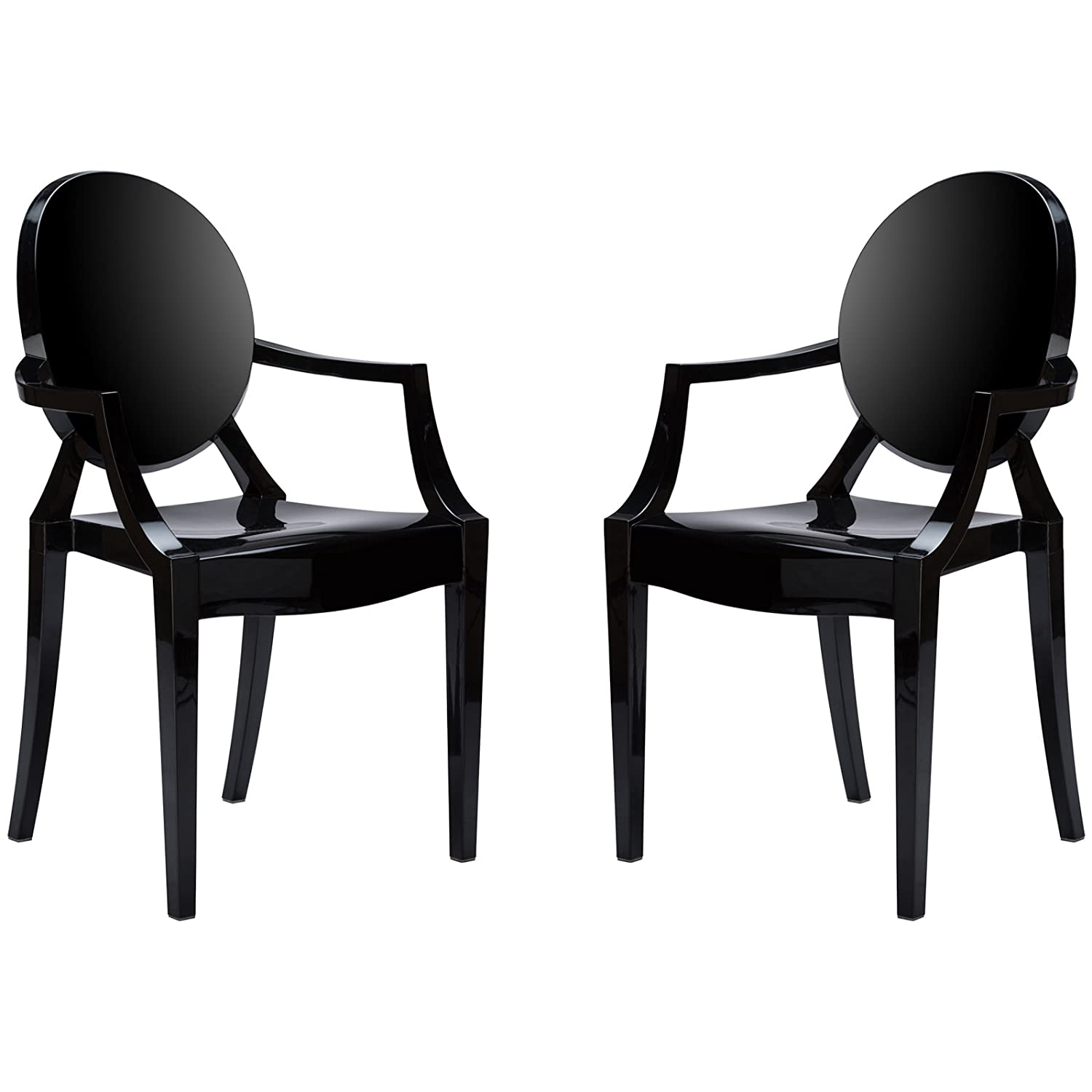 Poly and Bark Ghost Style Dining Armchair, Black, Set of 2