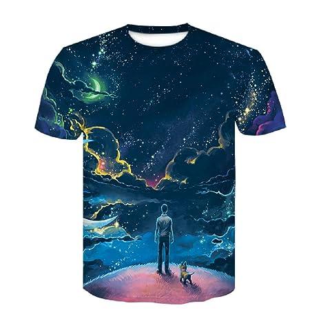ZzSTX Nueva Camiseta de Moda Hip Hop 3D Color animación Hombres 3D Camiseta  Verano Cool Tees b76244759f0