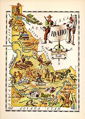 Pictorial Map - 1940s Vintage Idaho State Map 1940s Picture Map of Idaho Print Cowboy Indian Skiing Farming Mining Fun!