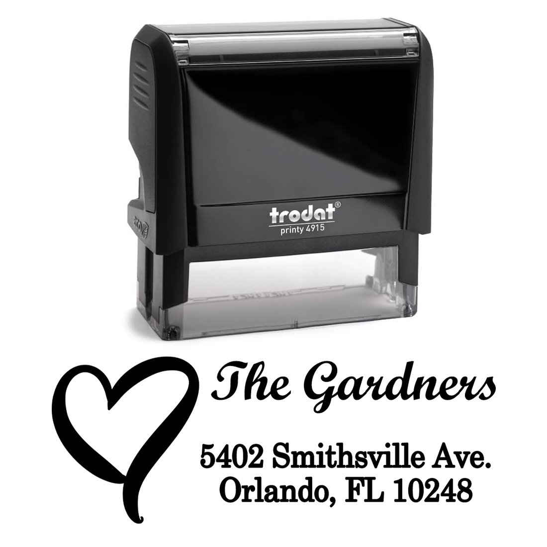 Black Ink, Heart, Custom Self Inking Return Address Stamp Personalized Family Stamps. A Special, Business, Real Estate, Housewarming, Wedding, Teacher Client, or Christmas Gift