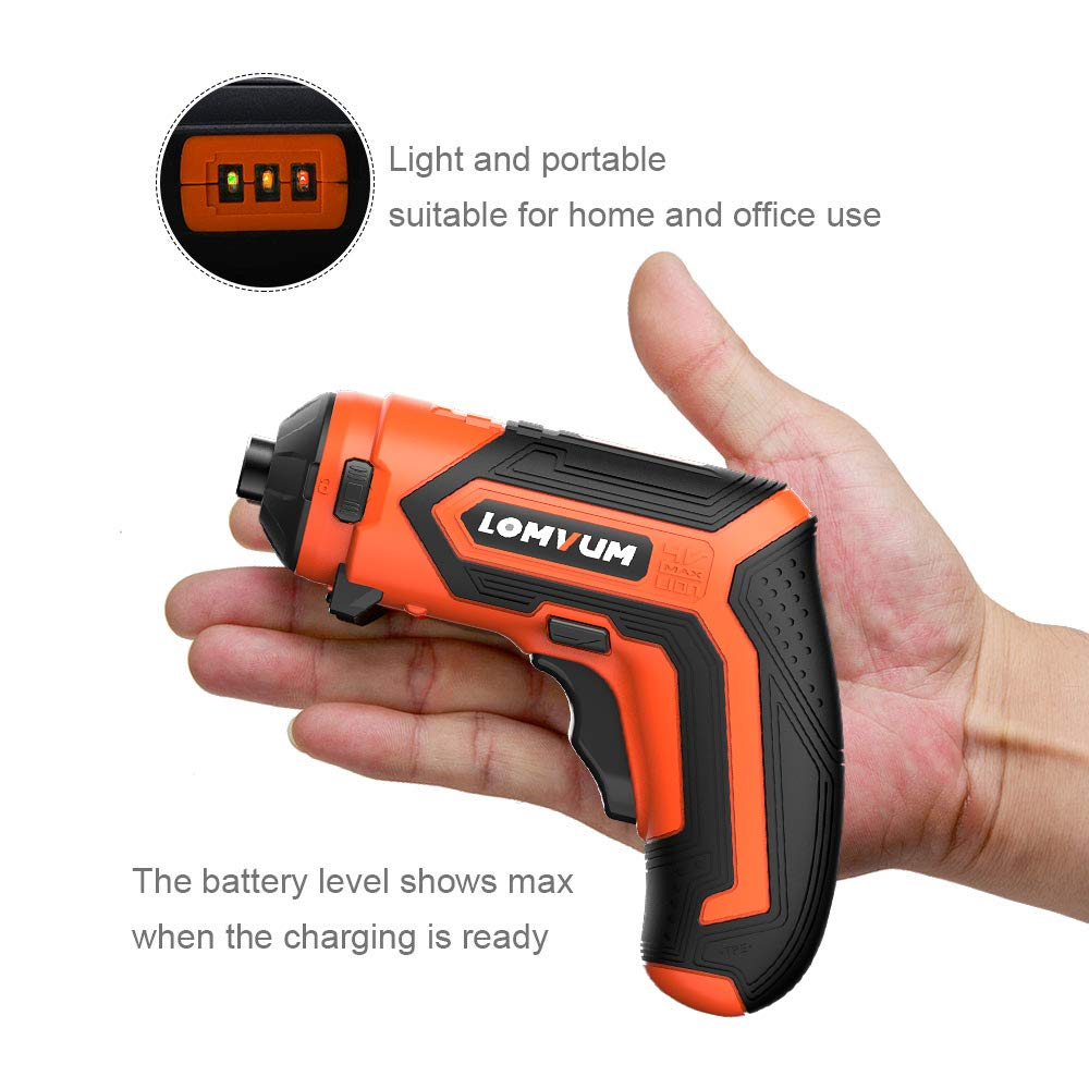 Cordless Rechargeable Screwdriver 5-In-1 Drill/Driver System 4-Volt 1500mAh Li-ion MAX Torque 4N.m - LED, 28pcs Driver Bits
