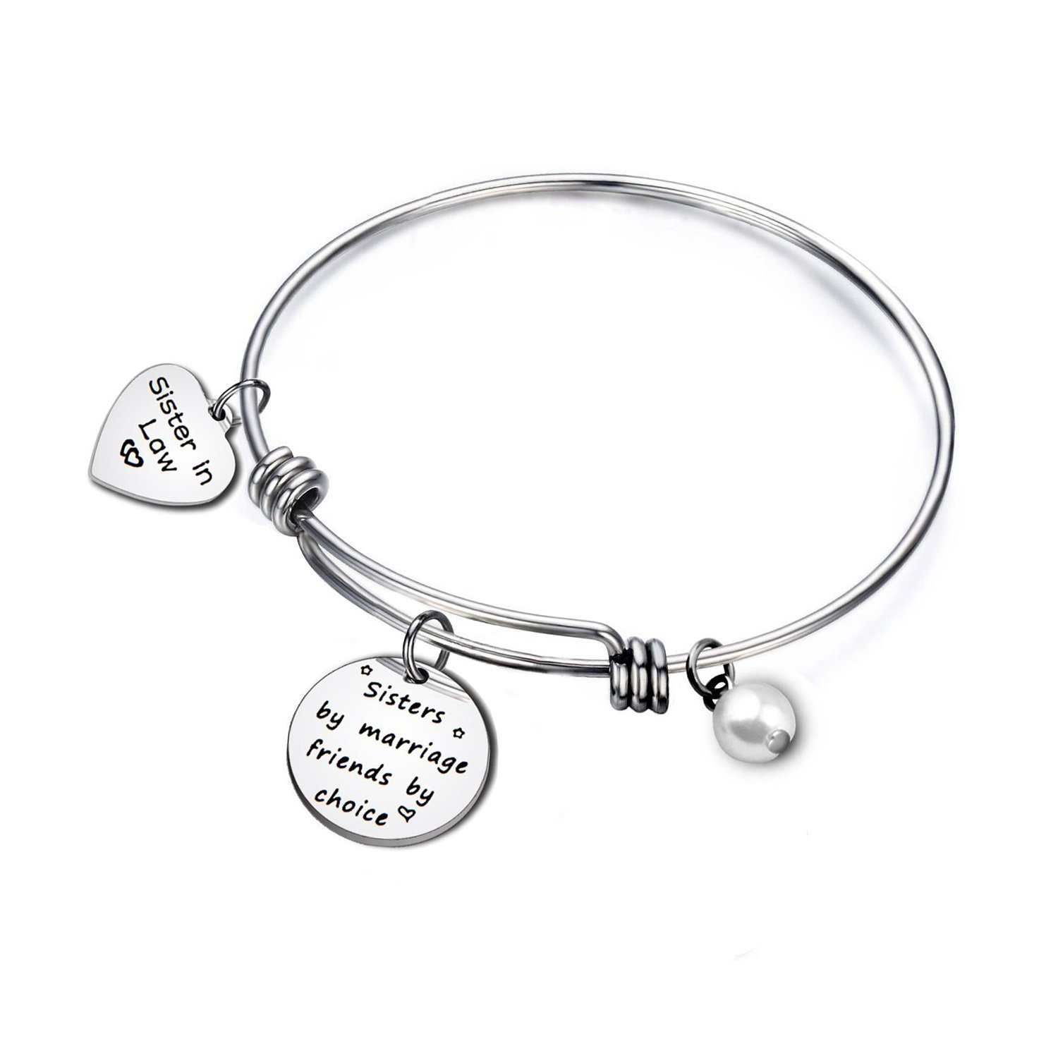 Sister in Law Gift Sister by Marriage Friend by Choice Adjustable Bangle Bracelet KUIYAI 9th-sisterinlaw