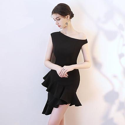 Vestido de noche Negro/Rojo Vino Mujer Fiesta De Cumpleaños Falda Cola De Pez Sección