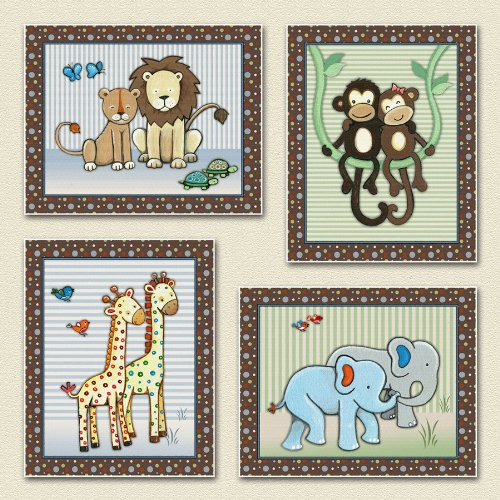 Jungle Animal and Noah's Ark Nursery Art Prints (8