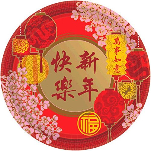 Amscan Blessed Chinese New Year Blossoms and Lanterns Round Plates (Pack Of 8), Multicolor, - Dessert Plates Paper 7' Pink