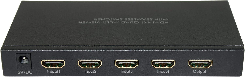 XtremPro H401S HDMI 4X1 Quad Multi-Viewer Seamless Switcher