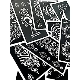 PACK of 12 Sheets Self-adhesive Henna Tattoo Stencils Template for Henna Tattoo Body Art Painting Glitter Tattoos Airbrush Tattoo