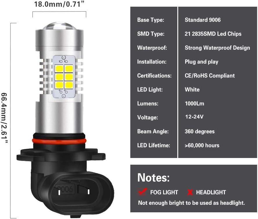 NATGIC H7 Bombillas antiniebla led Xenon blanco 2835 Conjuntos de chips SMD con lente Proyector para luces de circulaci/ón diurna con l/ámpara antiniebla 10-16 V 10.5 W paquete de 2