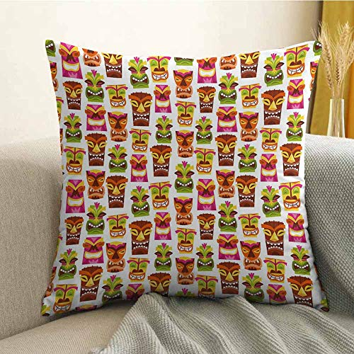 FreeKite Tiki Bar Decor Pillowcase Hug Pillowcase Cushion Pillow 60s Retro Inspired Cute Hawaiian Party Happy Tiki Statues Pattern Colorful Anti-Wrinkle Fading Anti-fouling W16 x L16 Inch - Sonora Bar Towel