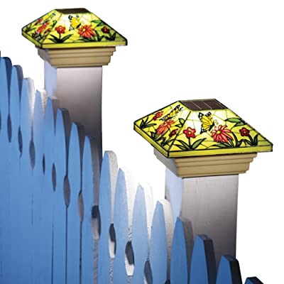 Collections Etc Solar Fence Stained Glass Effect Butterfly Post Light Cap, Yellow : Garden & Outdoor
