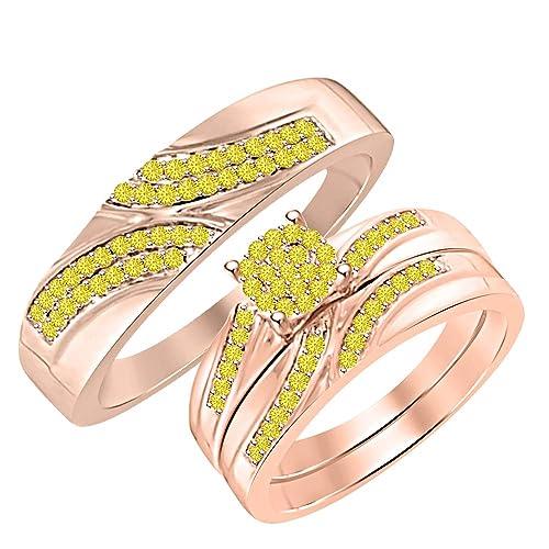 Amazon.com: Dabangjewels - Juego de anillos de boda para ...
