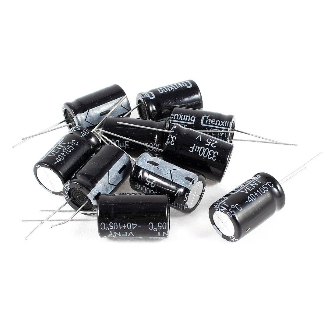 Uxcell 10 Pcs 3300Uf 25V Radial Aluminum Electrolytic Capacitors, 16 x 25 mm a14062700ux0333