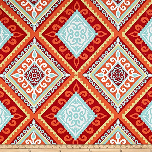 Tempro Fabrics 0517206 Terrasol Outdoor Spanish Tile Red/Orange Fabric by the Yard