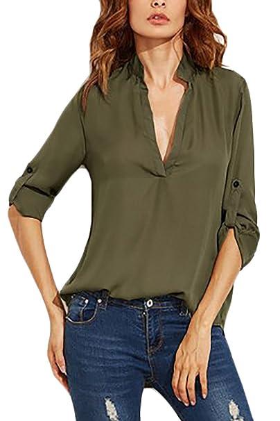 Damen Top Shirt mit weitem V-Ausschnitt Sommer Frühling